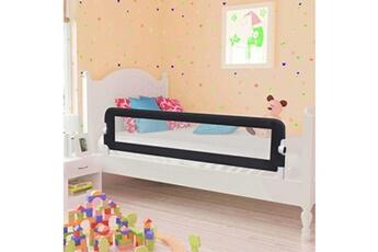 Barrière de lit Vidaxl Barrière de de sécurité de lit enfant gris 150x42 cm polyester
