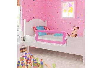 Barrière de lit Vidaxl Barrière de sécurité de lit d'enfant rose 120x42 cm polyester