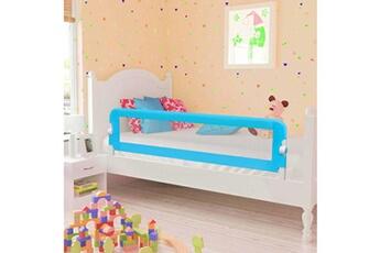 Barrière de lit Vidaxl Barrière de sécurité de lit enfant bleu 120x42 cm polyester