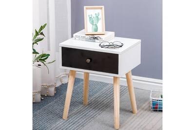 Table de nuit chervet: 40*30*50cm, blanc, meuble de chambre avec 1 tiroir  noir @ bonachat