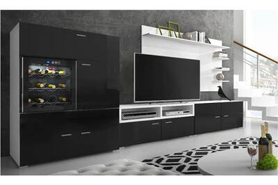 Ensemble de meubles,meuble de salon unité murale, meuble bas tv avec cave à  vin, réfrigérateur la sommelière. Laqué noir/blanc mat.295x175x57/40 cm