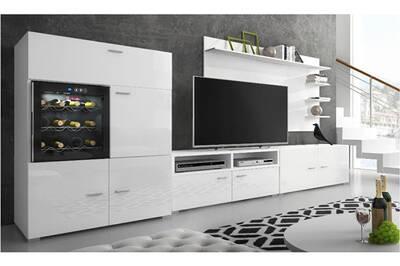 Ensemble de meubles,meuble de salon unité murale, meuble bas tv avec cave à  vin, réfrigérateur la sommelière. Laqué blanc/blanc mat. 295x175x57/40cm