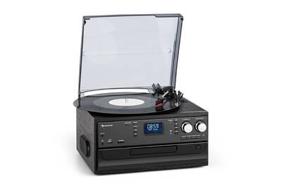 Chaine Hifi Auna Oakland Chaine Hifi Retro Radio Dab Dab Fm Lecteur Cd K7 Bluetooth Amp Platine Vinyle Noir Darty