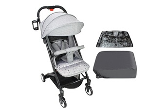 Poussette combinée Todeco Baby stroller, child pushchair, gris, with cup holder, carry bag and rain cover, matériau: polyester