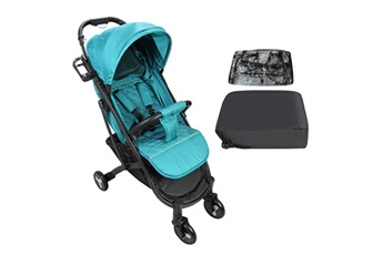 Poussette combinée Todeco Baby stroller, child pushchair, dark green, with cup holder, carry bag and rain cover, matériau: polyester