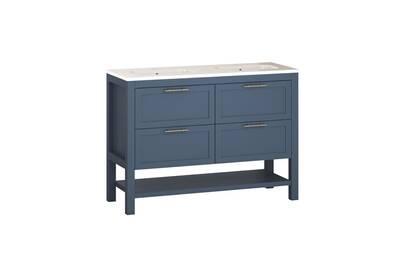 Ensemble kansas | meuble moderne 121 x 89 x 46 cm | bleu mat | meuble 4  tiroirs poignée or vieilli à poser au sol + vasque céramique