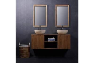 Ensemble salle de bain en bois de teck suspendu 135 - vasques + miroir