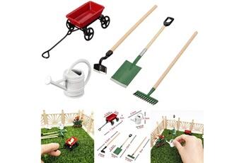 Maquette GENERIQUE 1/12 maison de poupée miniature ensemble outils d'équipement de jardin féerique arrosoir chariot rouge multicolore