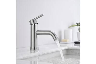 Robinet salle de bain brossé mitigeur lavabo design moderne en acier  inoxydable mousseur abs pour lavabo