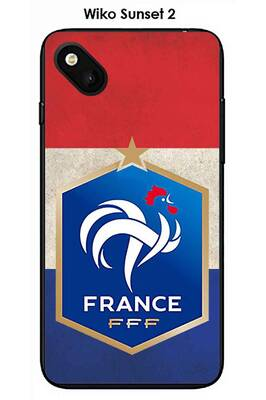 Coque wiko sunset 2 design foot france fond drapeau
