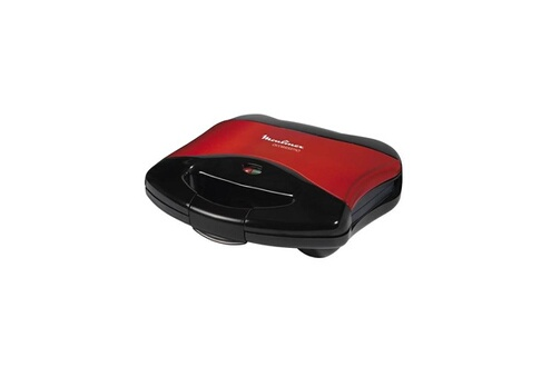 Appareil croque-monsieur rouge noir 650w avec plaques anti adhésives sm1808