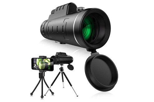 AUCUNE Télescope monoculaire à lentille optique zoom 40x60 hd + trépied + clip pour téléphone universel