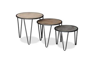 Table Basse Iconik Interior Petite Table Basse Ronde Hairpin Bois