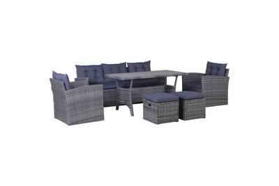 Mobilier de jardin ensemble nuku?alofa meuble de jardin 6 pcs avec coussins  résine tressée gris foncé