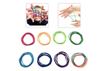 Jouets éducatifs Generic Rainbow toy string set finger 8pcs rainbow rope skill game kid jeu élastique vinwo3352