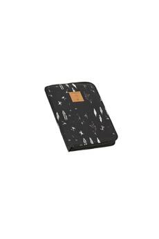Sac à langer Lassig Lassig - causal pochette carnet de santé plumes noir