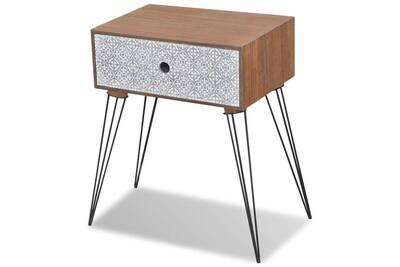 tiroir meuble armoire rectangulaire avec chevet de commode 1402178 Table marron helloshop26 nuit chambre 1 CexWBrdo