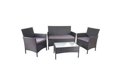 Salon de jardin avec fauteuils banc et table en poly-rotin noir et coussin  anthracite mdj04149