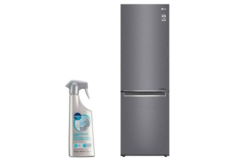 Réfrigérateur frigo combiné inox 341l a++ froid ventilé no frost dégivrage