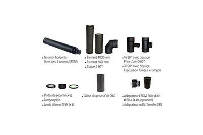 Accessoires chauffage central Joncoux Kit de raccordement étanche horizontal pellet diam 80 noir