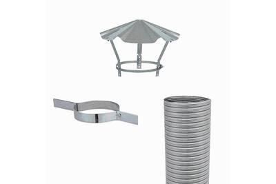 Accessoires chauffage central Joncoux Kit flexible flexitherm - kit 5m de flexible de tubage + collier de tubage + chapeau chinois. Diamètre intérieur 180mm extérieur 186mm