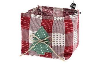 Déguisements Euroweb Panier de décoration hiver noel en textile rouge - rangement idée deco