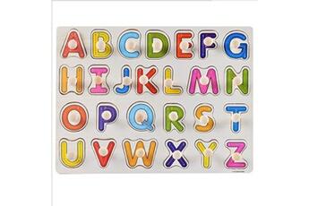 Jouets éducatifs Generic Kid early jouets éducatifs bébé main saisir puzzle en bois jouet alphabet vinwo2433