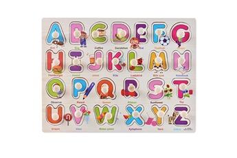 Jouets éducatifs Generic Kid early jouets éducatifs bébé main saisir puzzle en bois jouet alphabet toy1507