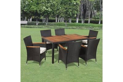 Salon de jardin 6 pers. En rotin synthétique et bois noir/marron et  coussins crème - cs429131