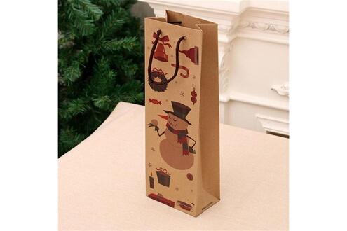 Generic Sac cadeau de noël en papier kraft sac à vin bouteille de vin sac emballage cadeau