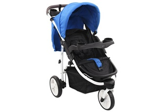 Poussette 3 roues Vidaxl Poussette bébé à 3 roues bleu et noir