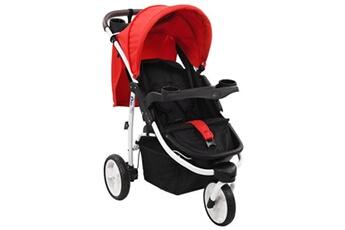 Poussette 3 roues Vidaxl Poussette bébé à 3 roues rouge et noir