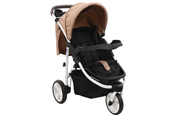 Poussette 3 roues Vidaxl Poussette bébé à 3 roues taupe et noir