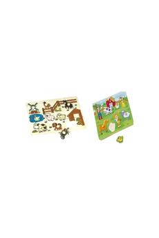 Jouets premier âge Imagin 2 puzzles éveil en bois ferme