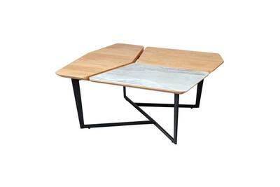 Table Basse Tousmesmeubles Table Basse Carree Acier Bois Ceramique