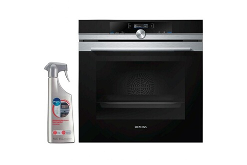 Four pyrolyse encastrable inox 71l mulltifonction porte froide hb672gbs2