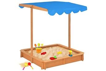 Bac à sable Vidaxl Bac à sable avec toit ouvrant bois de sapin bleu uv50