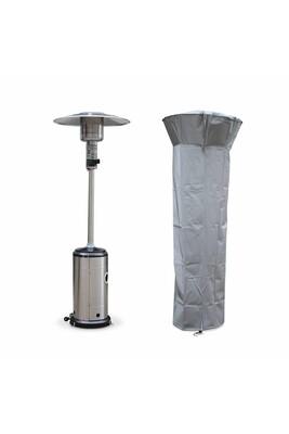 Parasol chauffant Alice's Garden Chauffage d'extérieur gaz 12.5kw - finland - parasol chauffant en acier inoxydable. Réglable. Porte en façade. Roulettes et housse