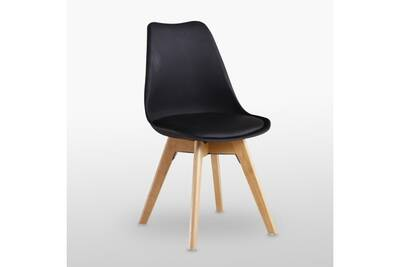 Table ronde effet chêne + 4 chaises scandinaves noires - ensemble pour  salle à manger ou cuisine