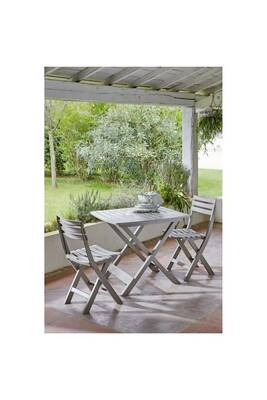 Set balcon 1 table + 2 chaises - taupe