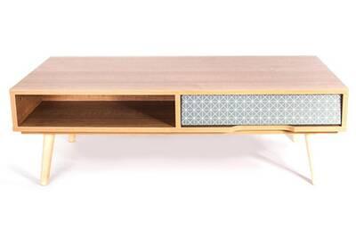 Table Pegane Table Basse Avec Tiroir En Bois Marron 100x50x38cm