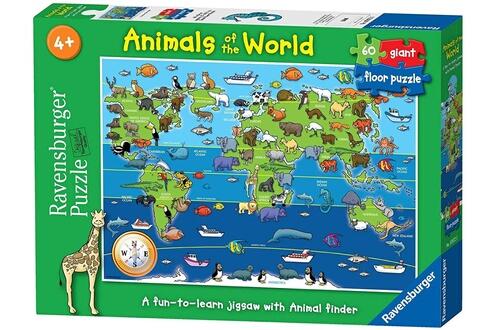 Ravensburger - puzzle - puzzle géant sol - animaux du monde - 60 pièces