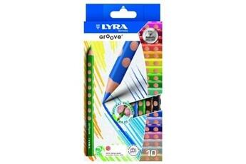 Autres jeux de construction GENERIQUE Lyra - pochette de 10 crayons de couleur triangulaires groove - crayons de couleur adaptés à l'apprentissage !
