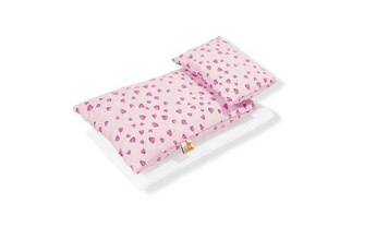 Accessoires pour maquette GENERIQUE Pinolino - textile 3 pièces pour lit de poupée - coeurs roses