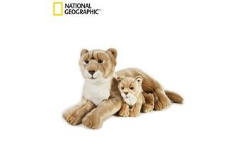 Peluches National Geographics Geographics national de lionne animaux en peluche mère avec bébé jouet en peluche (2 pièces, naturel)