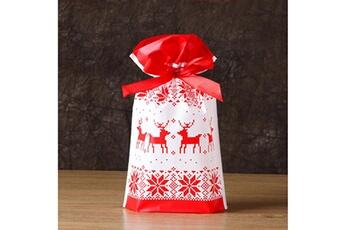 Jouets éducatifs Generic 50pcs sac à cordon de noël sacs de bonbons traiter les sacs avec des sacs à biscuits à cordon toy5945