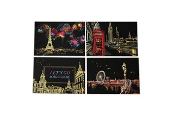 Jouets éducatifs GENERIQUE 4pcs 20x14cm magic scratch art painting paper with drawing stick kids toy multicolore
