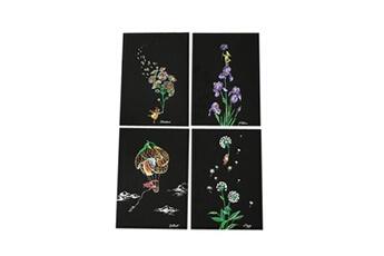 Jouets éducatifs Generic 4pcs 20x14cm papier de peinture magique scratch art avec bâton de dessin enfants jouet toy434