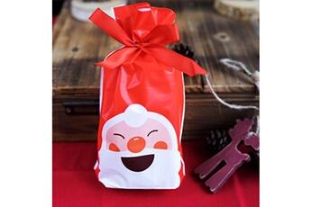 Jouets éducatifs Generic 50pcs sac à cordon de noël sacs de bonbons traiter les sacs avec des sacs à biscuits à cordon @suoupasora10387