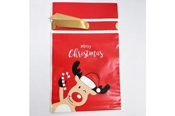 Jouets éducatifs Generic 50pcs sac à cordon de noël sacs de bonbons traiter les sacs avec des sacs à biscuits à cordon @suoupasora10398